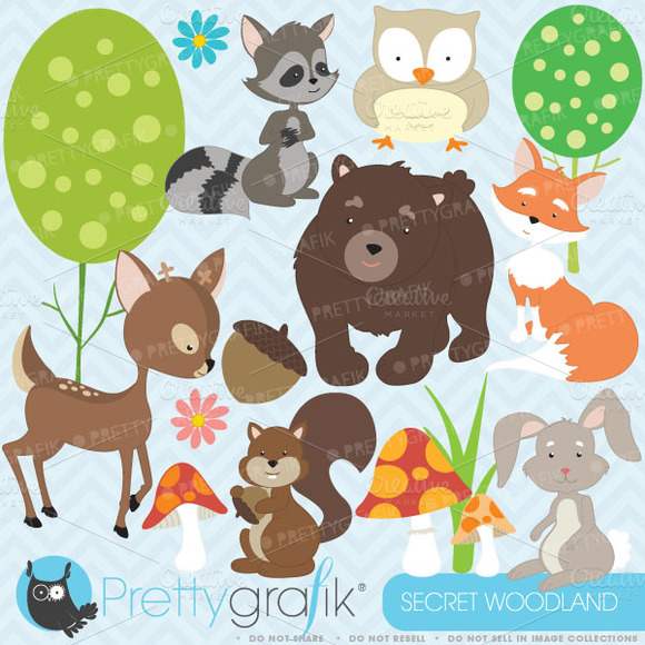 Woodland Animals Clipart Commercial
