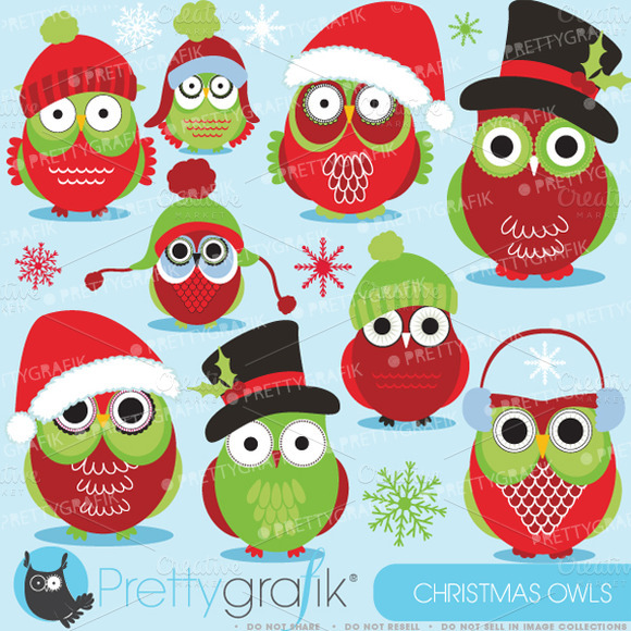 Christmas Owls Clipart Commercial