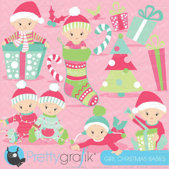 Christmas Baby Girl Clipart
