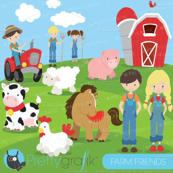 Farm Animals And Friends Clipart