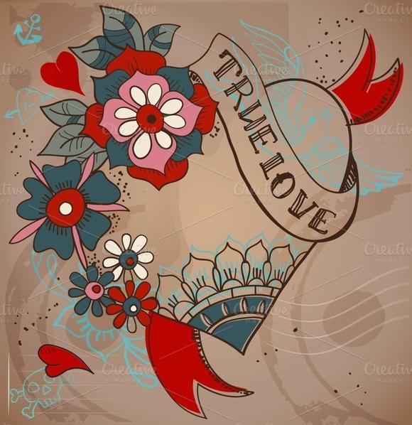 Valentine Card Tattoo Style