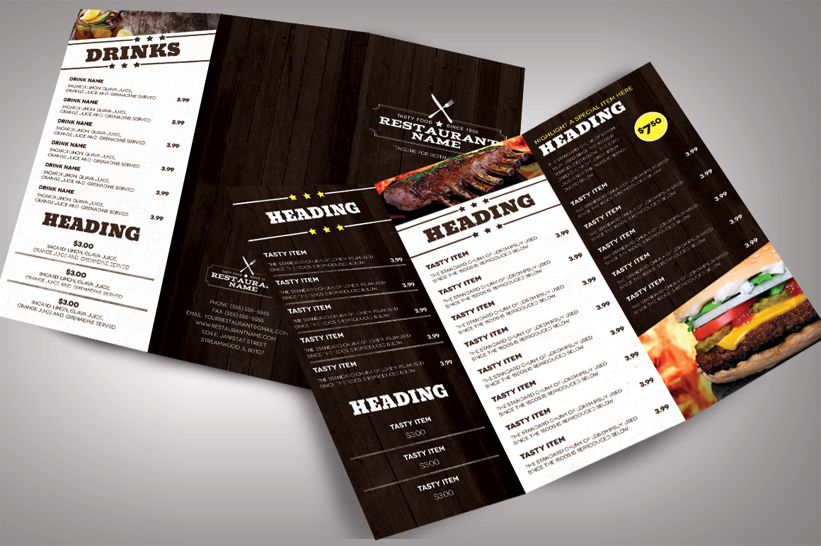 menu brochure template - restaurant menu modern brochure templates on creative market