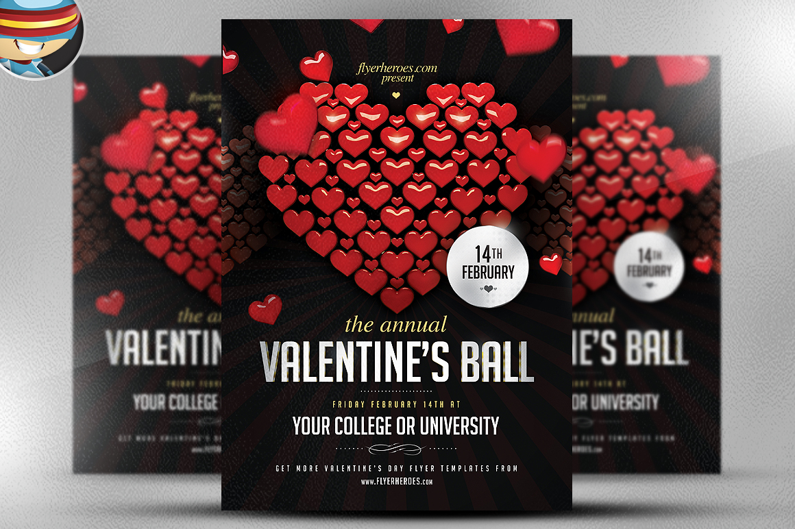 Valentine S Ball Flyer Template Flyer Templates On