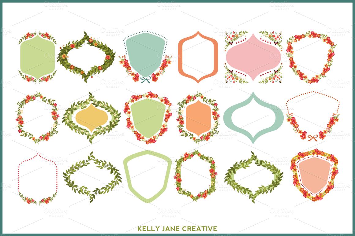 flower garden wreaths frames illustrations  creative