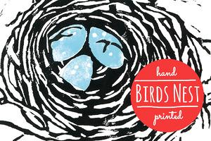 Hand printed birds nest illustration