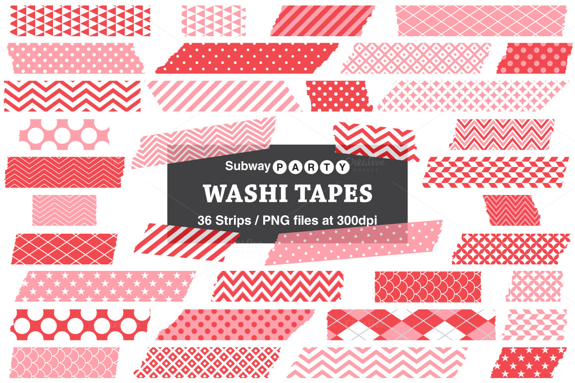 pink  u0026 red washi tape strips