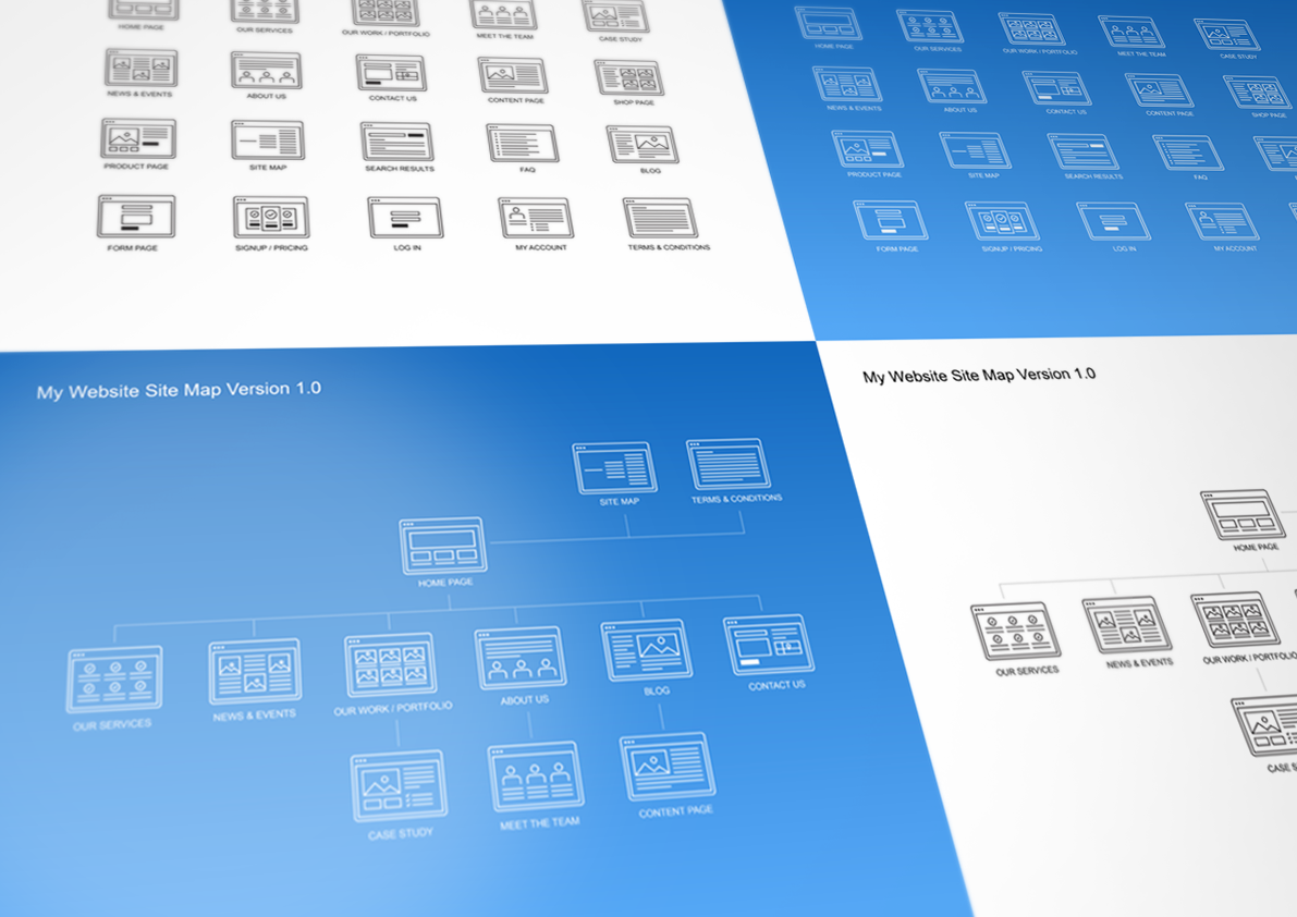 Website site map kit product mockups on creative market for Powerpoint sitemap template