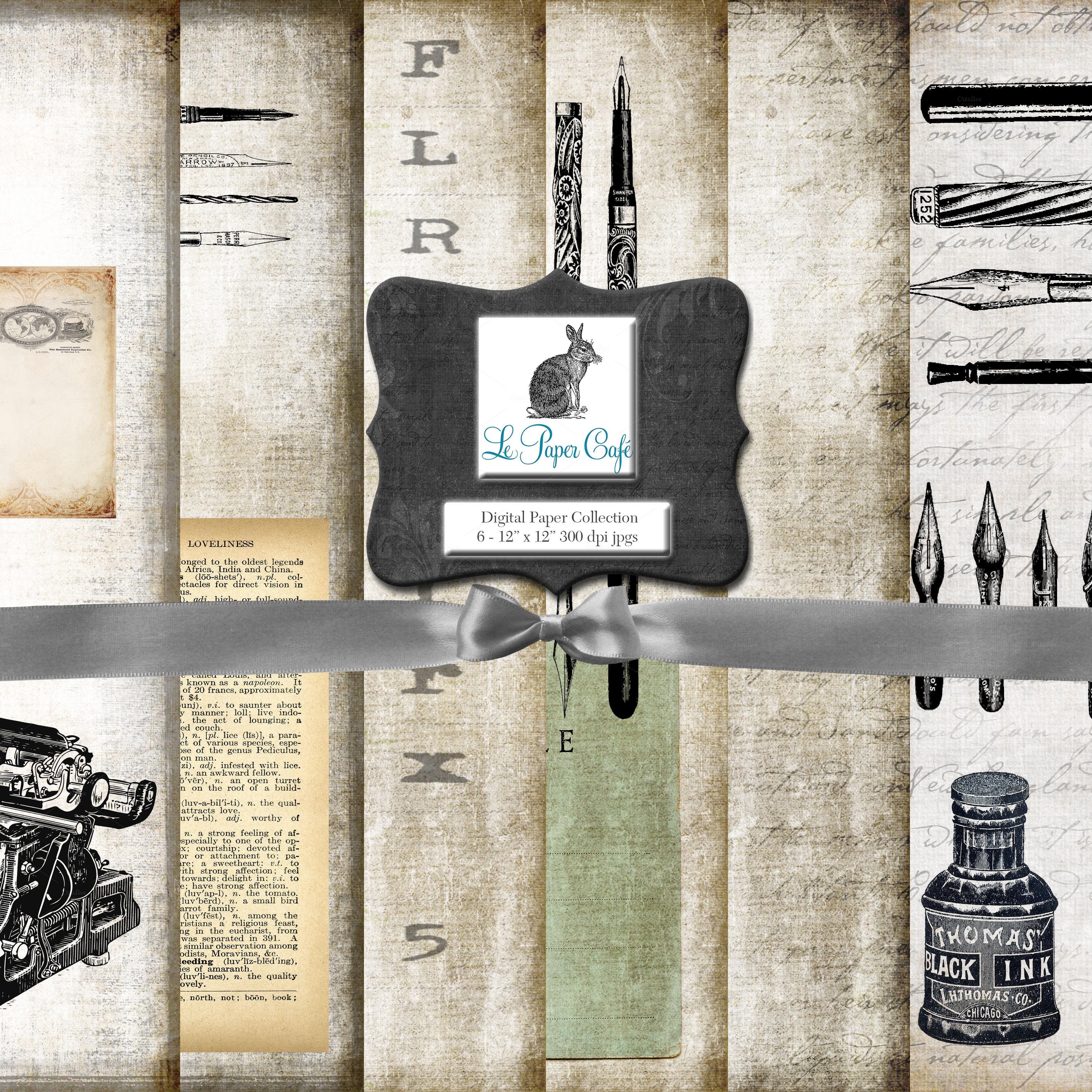 writer 39 s block background paper illustrations on creative market. Black Bedroom Furniture Sets. Home Design Ideas