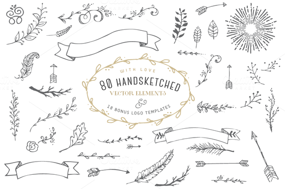 Hand-Drawn Vector Elements Kit & 15 Bonus Logos - Vol.1 - GraphicsFuel