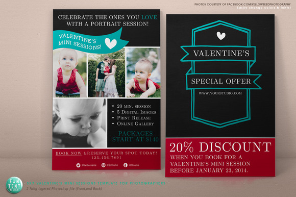 5x7 Valentines Mini Session Flyer