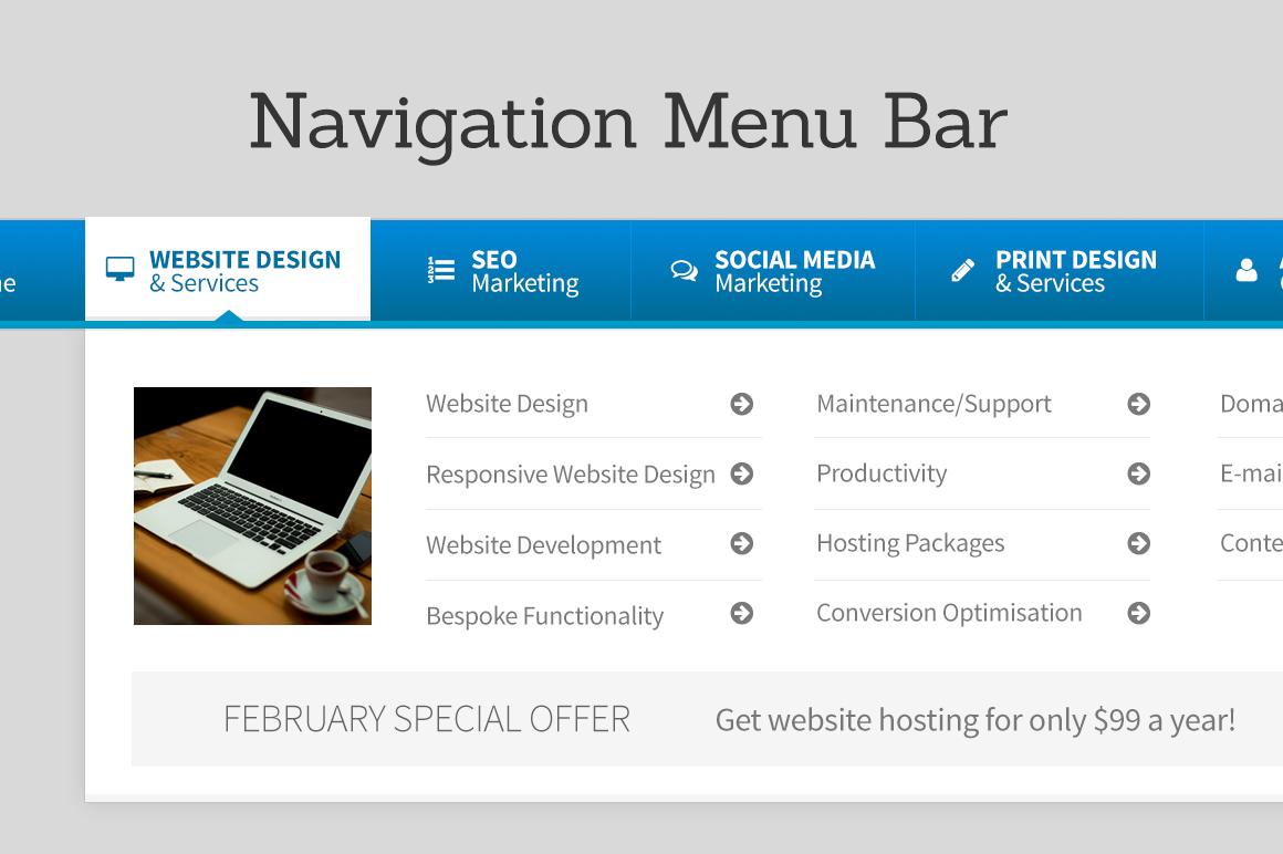 Navigation Menu Bar Web Elements On Creative Market