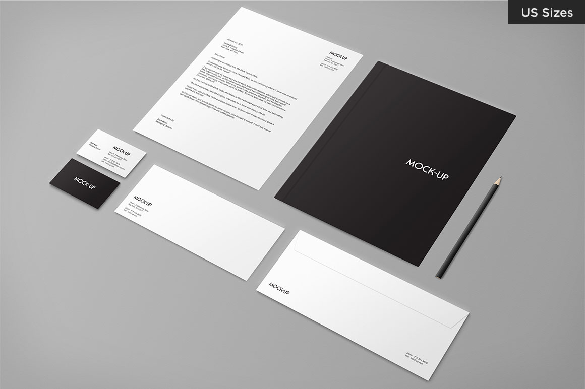 Stationery Mock Up Us Sizes Product Mockups On