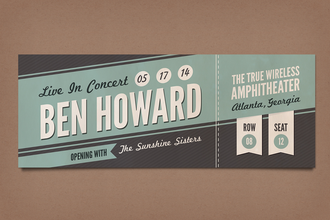 Retro concert tickets stationery templates on creative for Concert ticket template free