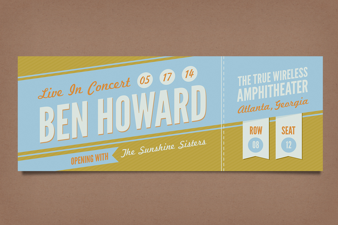 Retro Concert Tickets ~ Stationery Templates on Creative ...