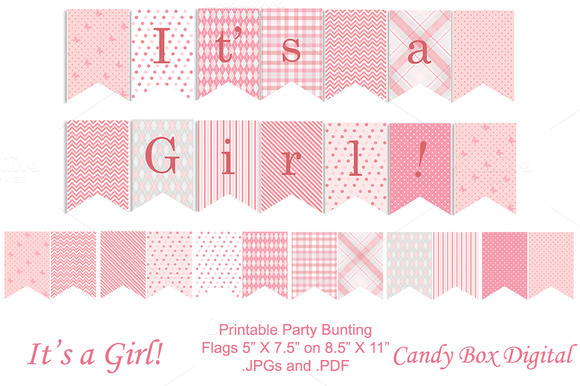 Baby girl full size party banner objects on creative market for It s a girl dekoration