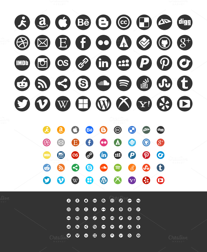 Round Social Media Icon Set ~ Icons on Creative Market
