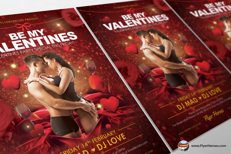 be my valentine flyer template flyer templates on creative market. Black Bedroom Furniture Sets. Home Design Ideas