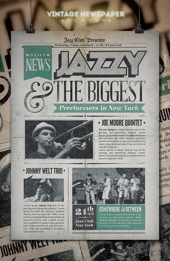 paper ad design templates - jazz vintage newspaper poster flyer templates on
