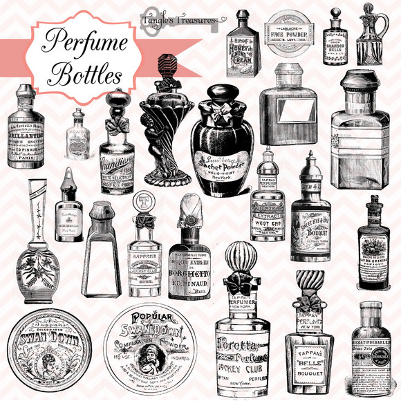 Vintage Perfume Bottles Brushes