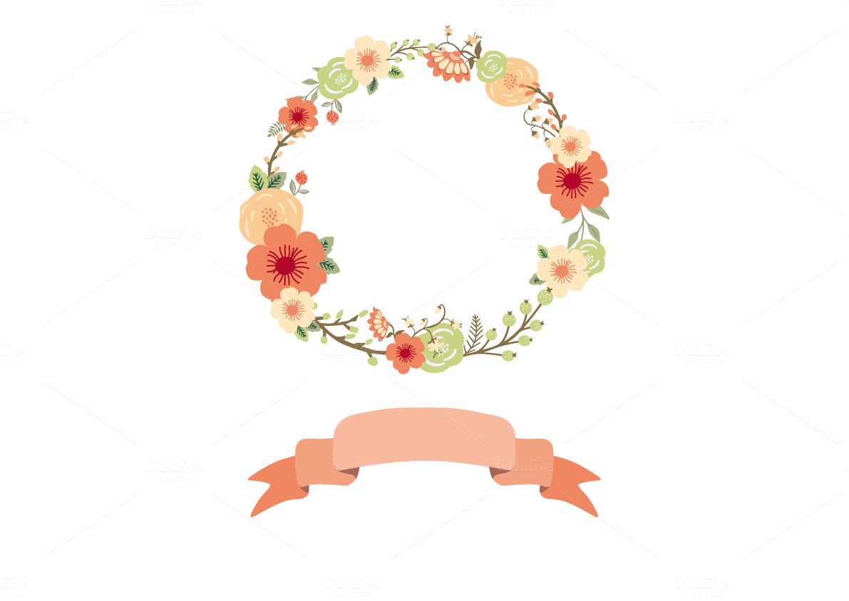 Gallery For Watercolor Flower Wreath Clipart