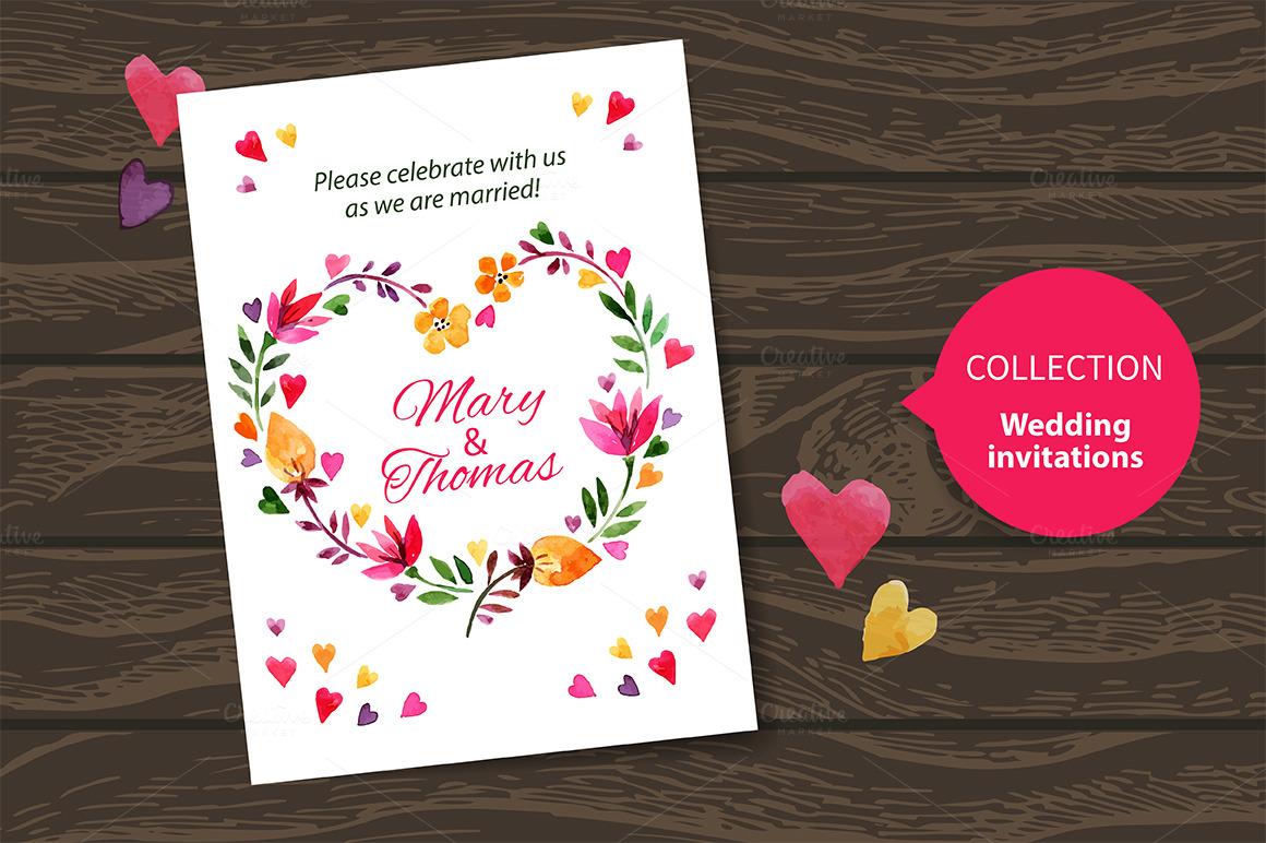Vector Wedding Invitations: Watercolor Wedding Invitation Vector