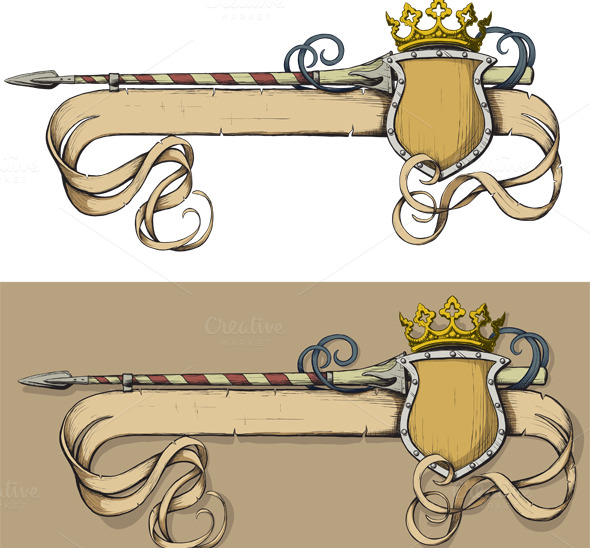 color banner spear and crown illustrations on creative market. Black Bedroom Furniture Sets. Home Design Ideas