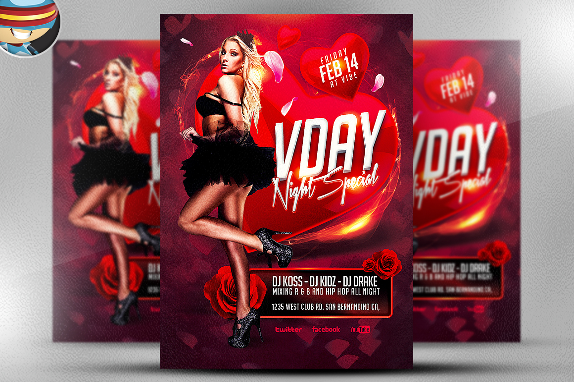 vday night special flyer template flyer templates on creative market. Black Bedroom Furniture Sets. Home Design Ideas