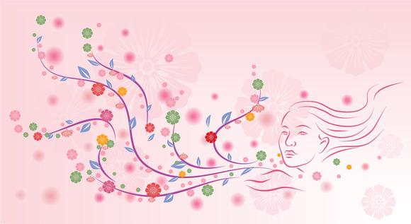 Floral Design On Pink Background