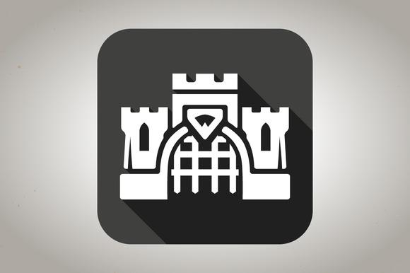 Black Flat Castle Icon
