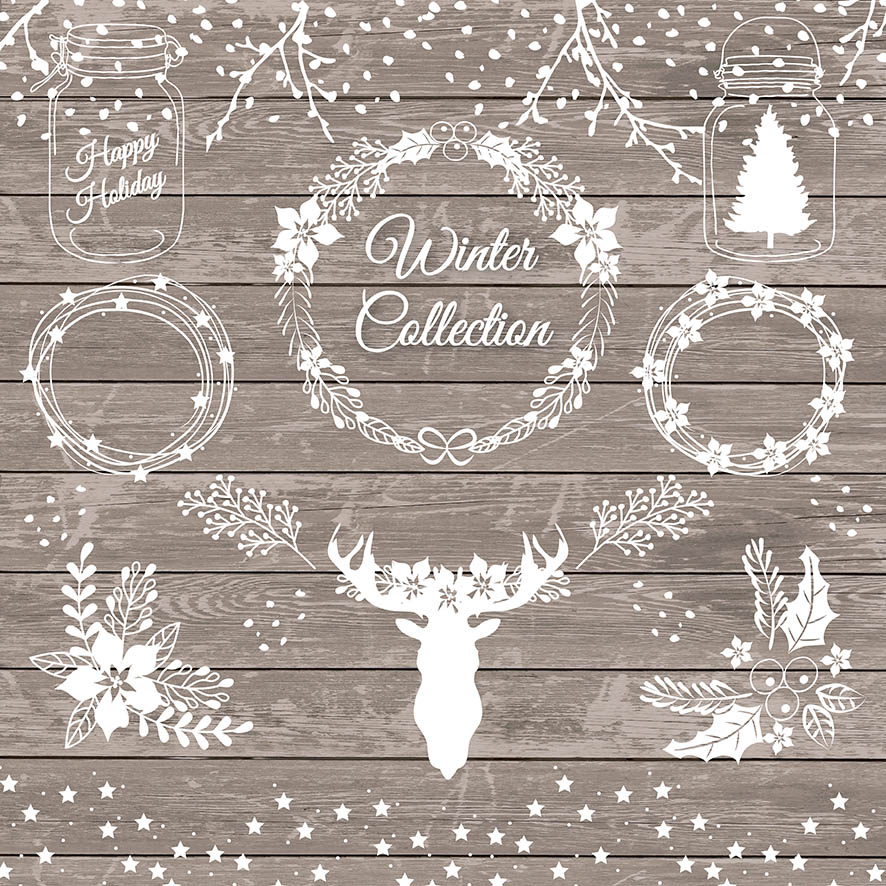 Vector Rustic Christmas 1 Illustrations On Creative Market