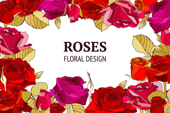 Vector Roses Flower Decor Collection