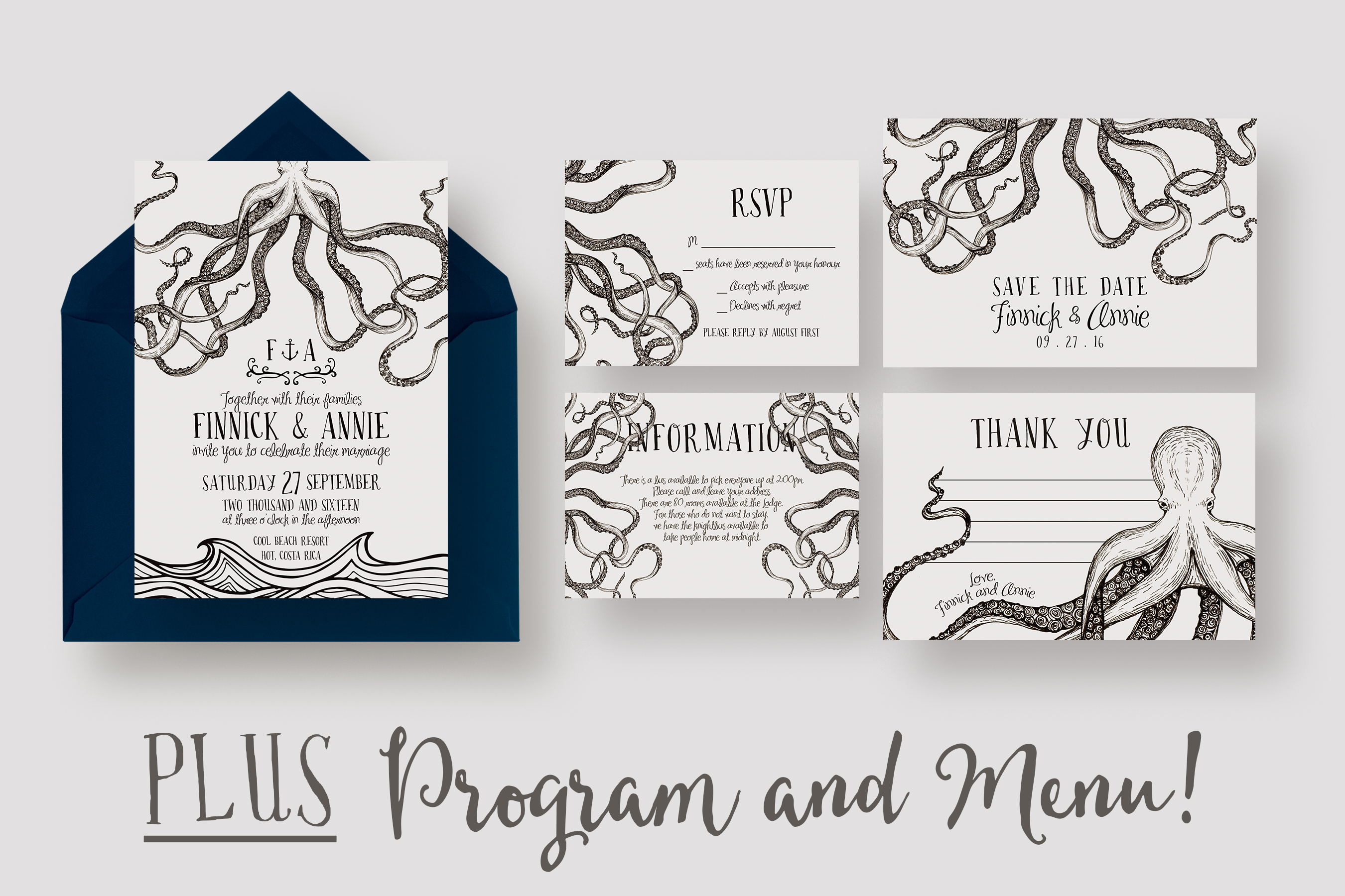 Wedding Invitation Suite Templates: Octopus Wedding Invitation Suite