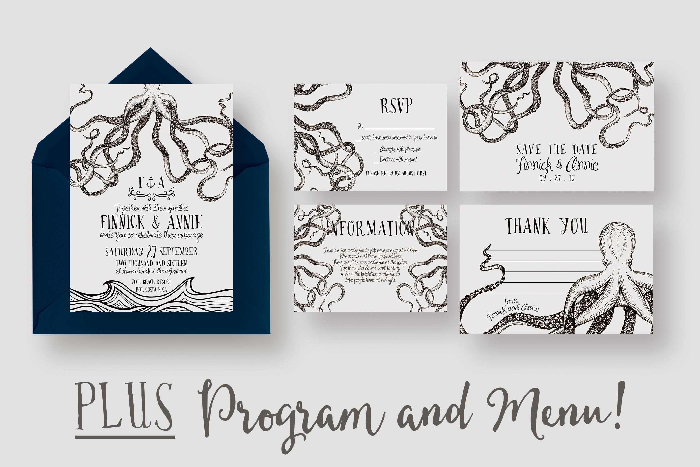 Octopus Wedding Invitation Suite ~ Invitation Templates on ...