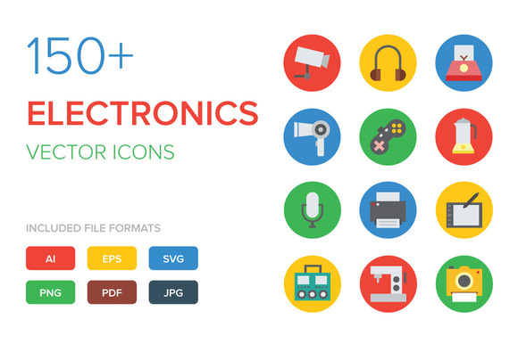 150+ Electronics Vector Icons