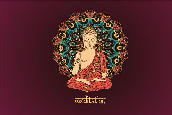 6 Lord Buddha Mandalas Vector