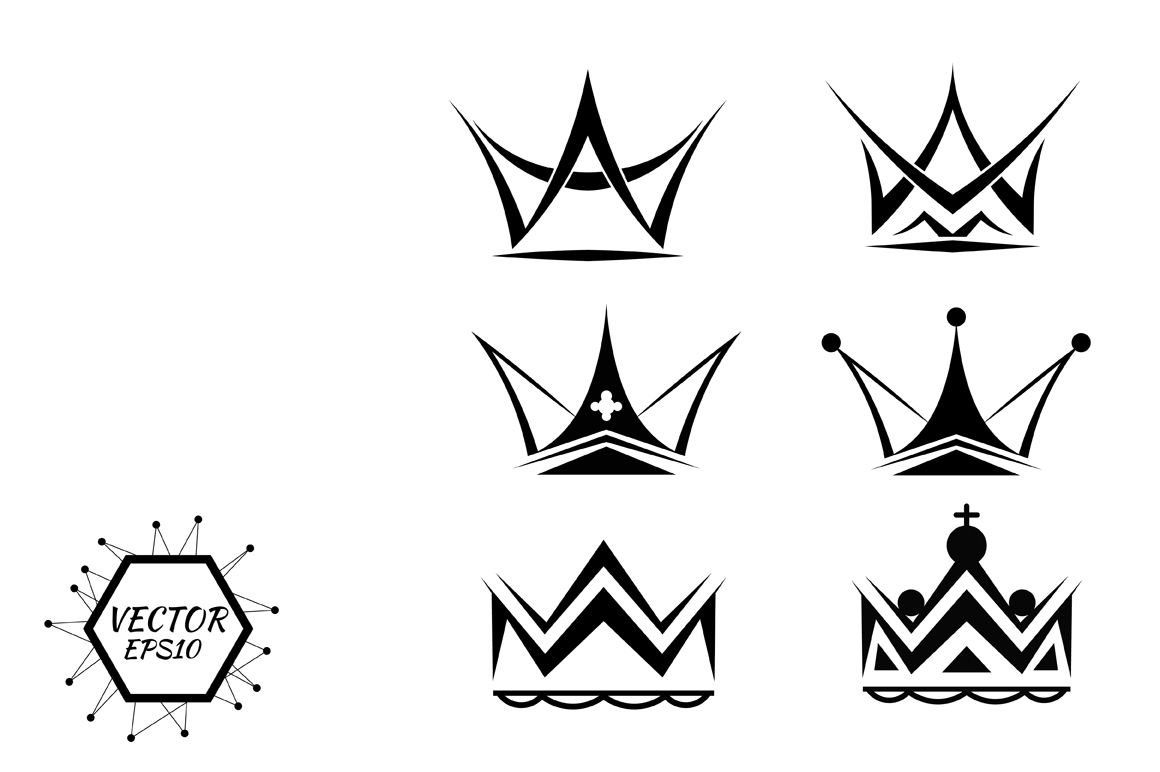Set of silhouettes of crowns ~ Objects on Creative Market