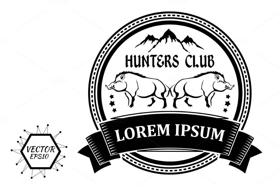 label with silhouettes of two boars ~ Logo Templates on