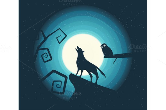 Vector. Wolf Howling in the Moonligh - Illustrations
