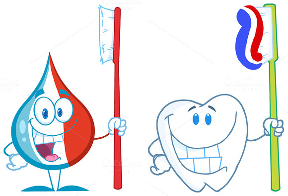 Toothpaste And Tooth. Collection Set - Illustrations