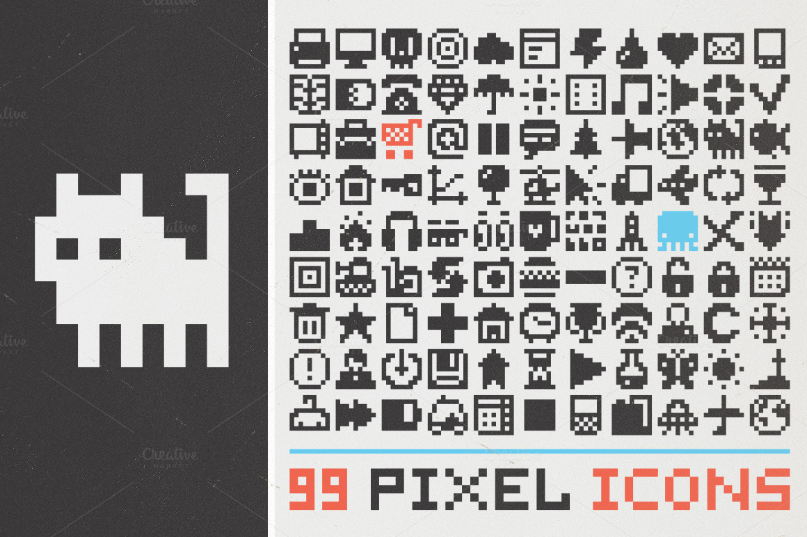 99 pixel art icons set 1 icons on creative market