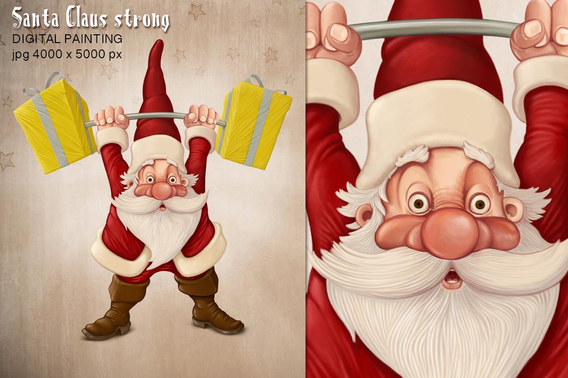 Santa claus strong illustrations on creative market