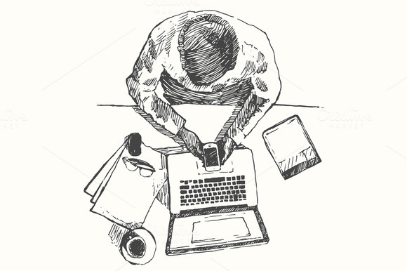 Sketch Of Man With Computer