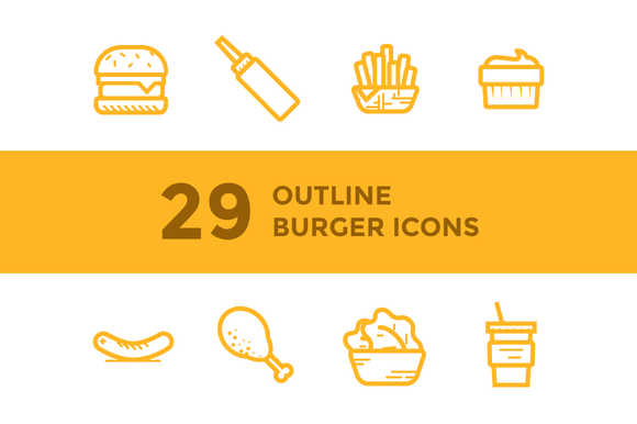 Burger Shop Icons Illustrations