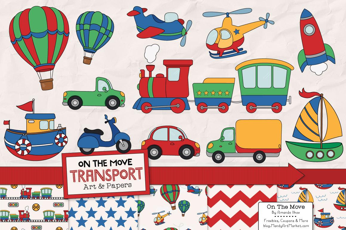 transportation clipart amp patterns illustrations on