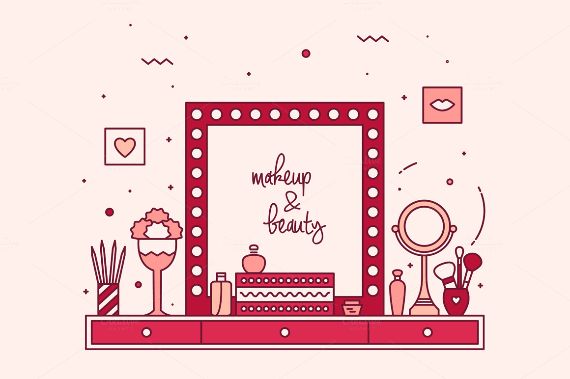 Modern designer makeup table vanity illustrations on for Beauty table style css