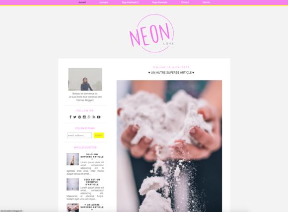 Neon Love Modern Blogger Template