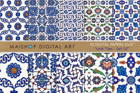 Digital Paper Iznik Tiles Set 02