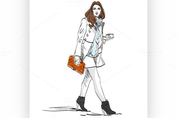 Model fashion. Sketch. - Illustrations