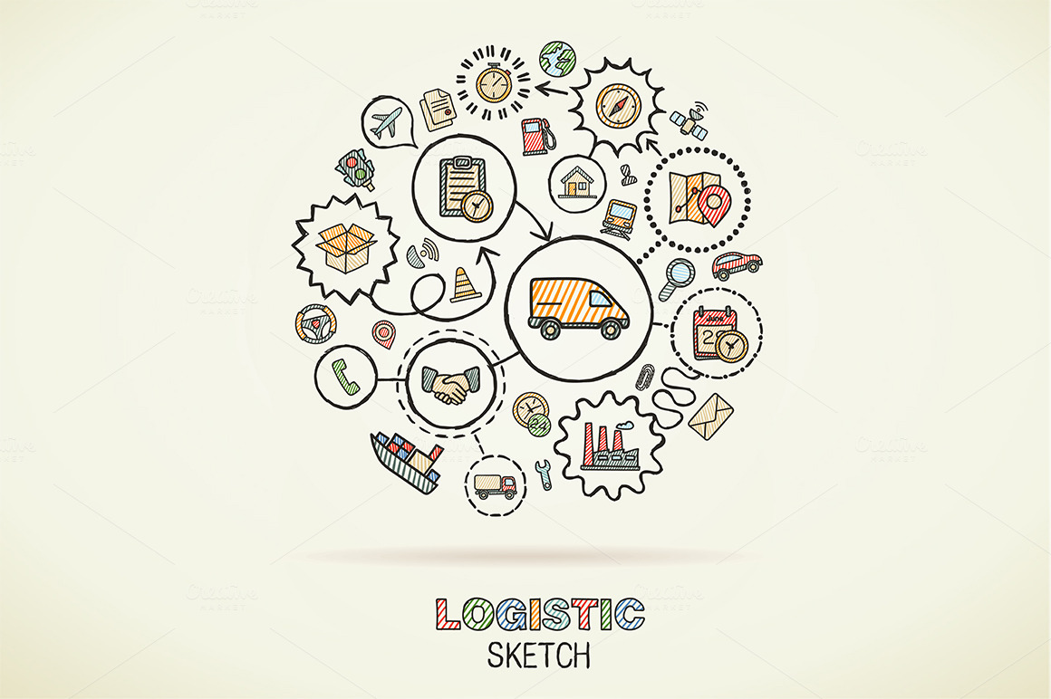 Logistic hand draw sketch icons ~ Illustrations on
