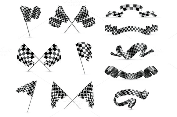 Checkered flags icons ~ Icons on Creative Market